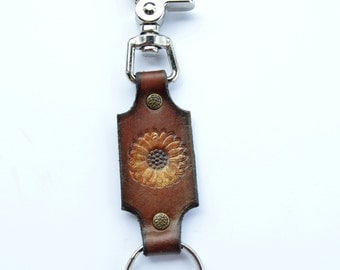 Key Chain or Ring with Snap Leather Sunflower