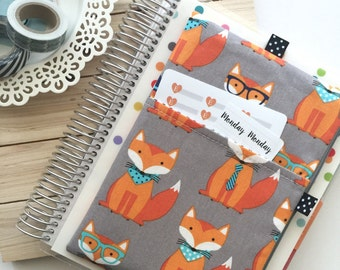Foxes on grey planner band, pocket planner pouch, foxes print pencil pouch, grey zipper pouch for pens and pencils