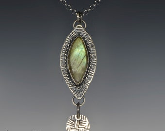 Green Labradorite, Pendant Necklace, Sterling Silver, Textured Marquis, Handmade