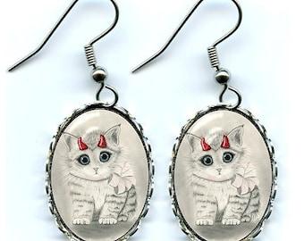 Cute Devil Kitten Earrings Red Horns Devil Cat Big Eye Cat Art Cameo Earrings 25x18mm Gift for Cat Lovers Jewelry