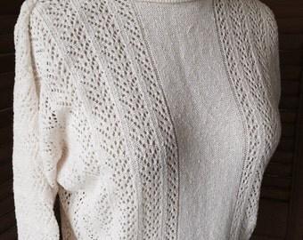 Vintage White Pointelle Sweater