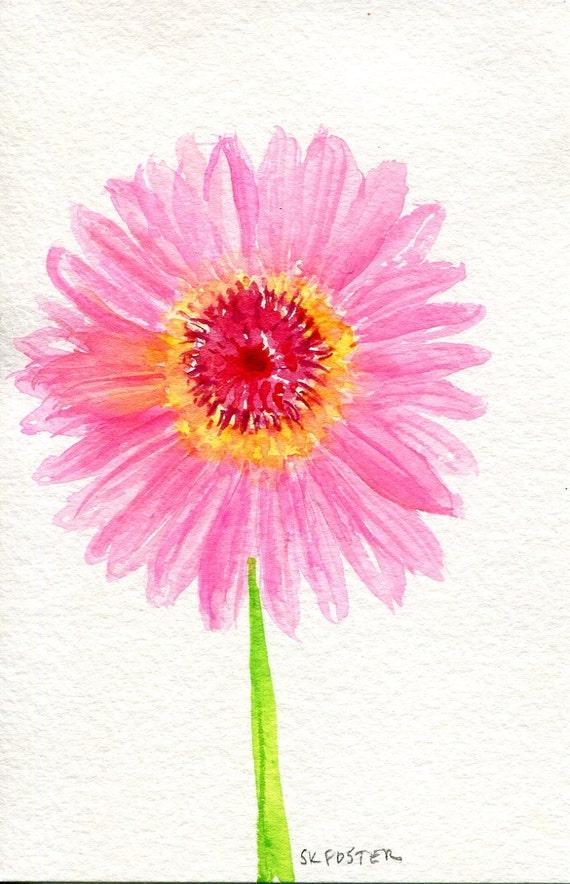 gerbera daisy watercolors painting original by sharonfosterart