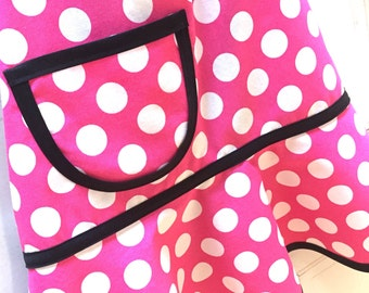 Kids Apron, Little Girls Apron, Child Apron, Toddler Apron,Teen Apron, Hot Pink and Aqua, Polka Dots  - PINK & BLACK DOTS