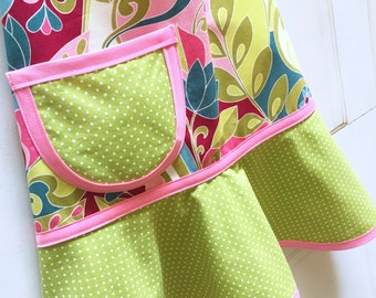 Kids Apron, Girls Apron, Child Apron, Toddler Apron, Teen Apron, Cooking, Baking, Craft Apron, Jewel tones, green dots  - RHAPSODY FLORAL