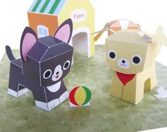 Printable Puppy Playset Paper Craft PDF