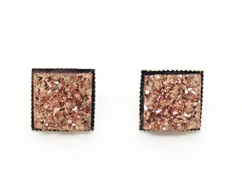 Faux Druzy Stud Earrings - Rose and Silver
