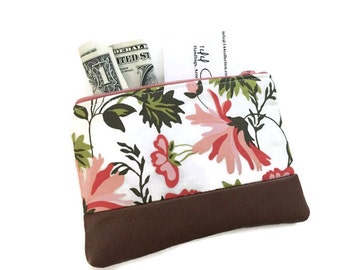 Persimmon Floral Leather Pouch, Coin Purse, Small Change Purse, Change Wallet, Leather Coin Purse