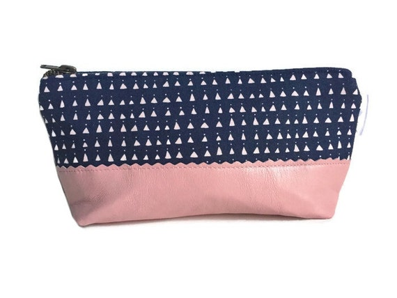 Pink Triangles Leather Pouch, Makeup Bag, Zipper Pouch, Toiletry Bag for Women, Leather Clutch
