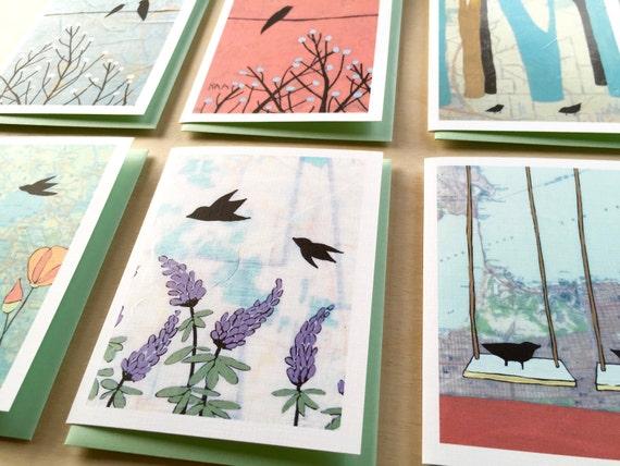 Boxed Bird Notecard Set // Boxed Blank Cards // Map Painting Cards // Bird Cards // Bird Stationary // Map Art // Rachel Austin Bird Cards