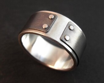 Ring - Silver and Titanium Mind The Gap Band - Handmade in Seattle
