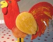 Painted Red Wooden Rooster Ornament
