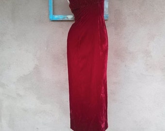 Vintage 1960s Dress Evening Gown Red Velvet 60s Pageant US4 B35 W26 2015491