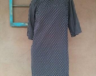 Vintage 1960s Dress Polka Dot Mod Sheath Style Maternity US 8 2015135