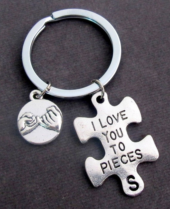 I Love You to Pieces Key Chain With Pinky Promise Charm,Puzzle Piece Initial Keyring, Couples Jewelry, Anniversary Gift, FREE SHIPPING USA