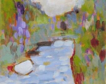 Original painting, Impressionism, landscape, acrylics on canvas paper