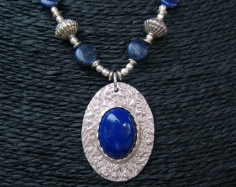 Lapis Lazuli and Fine Silver Necklace Set