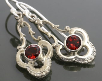 Garnet Sterling Silver Dangle Earrings - January Birthstone f15e001