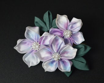 Azalea Kanzashi Silk Clip. Tsumami Zaiku Tsutsuji flowers. Custom hand dyed hair ornament. Made to order.