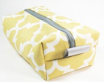 Makeup Bag / Cosmetic Bag/ Travel Bag / Toiletry Bag - Mustard Fulton Quatrefoil