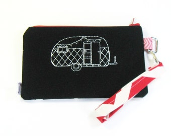 Wrist Purse / Wristlet Clutch / Cell Phone Wristlet - Embroidered Happy Camper - Vintage Camper and Arrows