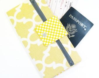 Travel Wallet / Travel Passport Holder / Passport Wallet / Passport Case / Passport Cover - Yellow Fulton Quatrefoil and polka dots