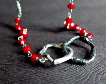 Sterling Silver Twig Ring Necklace, Textured Twig Blood Red Bead Necklace