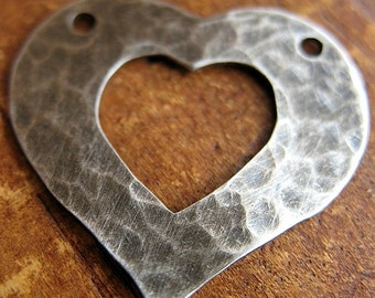 Hammered Sterling Silver Heart Pendant  in Antiqued or Bright Finish