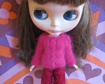 Handmade Blythe Sweater - Red Cable Sweater and Trouser Set in Fluffy Angora Yarn
