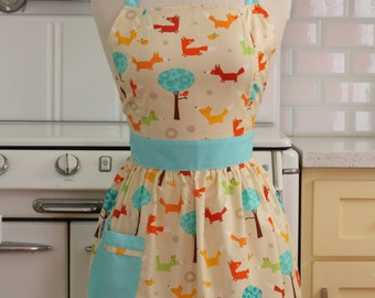 Apron Retro Style Whimsical Fox CHLOE Full Apron
