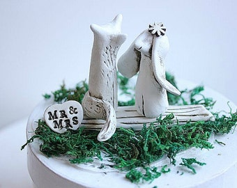 Wedding cake topper Fox and Rabbit - Clay Fox and Rabbit - Woodland Cake Topper - Clay Fox - Clay Rabbit -  Rustic Cake Topper - Clay Bunny