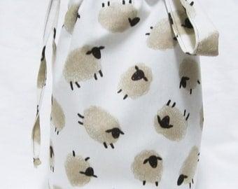 SALE - Small Knitting Project Bag - Sheep