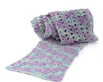 Pure cashmere scarf, soft warm openwork lacy crochet design in lilac purple and pale teal, uk seller, handmade in Cornwall, valentine