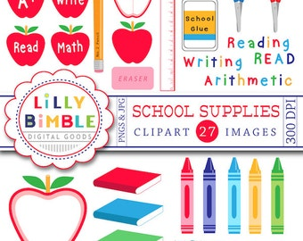 50% off School Supplies clipart education apples, crayons, pencil, books, ruler, glue Instant Download