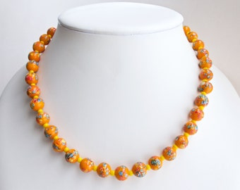 Vintage japanese Millefiori necklace. Lampwork beads