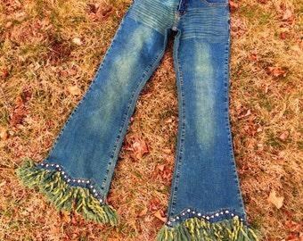 Vintage Bebe Jeans/Bell Bottoms/Fringe Jeans