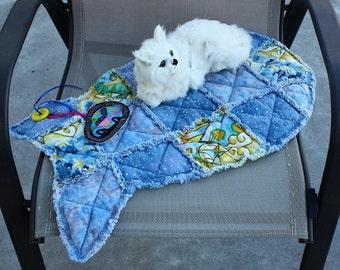 Cat Bed, Cat Quilt, Fish Shaped Cat Blanket, Cat Bedding, Blue Cat Blanket, Colorado Catnip Bed, Cat Mat, Crate Mat,  Designer Cat Bed