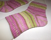 Knit spa socks . Hand knit flip flop socks . Handmade pedi socks . Striped knit socks . Toeless socks. Cotton wool yarn . Medium