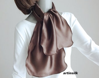 "Brown Chocolate Silk Shawl Coverup, Silk Satin Charmeuse, Small Silk Stole Black Satin Charmeuse Evening Special Occasion  21x64"", Artinsil"