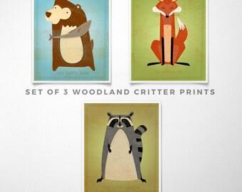 Cute Animal Art Woodland Nursery Prints Kids- Woodland Decor Set of 3 Prints for Nursery Art for Kids Room- Kid Wall Art