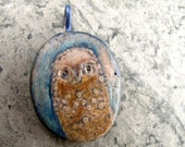 Quiet owl pendant in polymer with soft brown dots