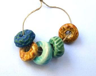 Hand Sculpted Porcelain Donut Bead Bundle Handmade
