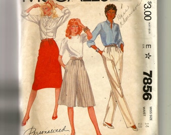 McCall's Misses' Skirt, Pants and Culottes Pattern 7856
