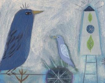Bird Folk Art,  Bird Painting, Naive Art, Blue Bird, Outsider Art, Original Painting, Whimsical Illustration, Birdhouse, Spiralforeststudio