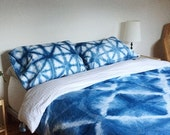 LABOR DAY SALE Indigo Shibori Dyed Cotton Pillow Cases in Starburst, Anna Joyce