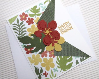 Happy birthday sunshine tropical card handmade fancy fold stamped embellished stationery greeting home living feminine