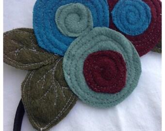 40% FLASH SALE- The Little Garden Bloom- Felted Wool Headband or Brooch-Triple Bloom