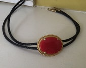 Large Red Stone Bolo Tie / Lariat / Prong Set / Slide Necklace / Gold