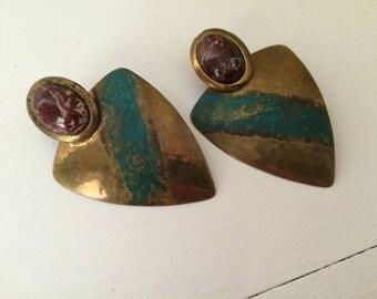Brass Artisan Earrings / Geometric / Stone / Pierced
