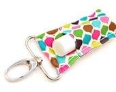 Chapstick Holder, Lip Balm Keychain, Jewel Toned Diamond Quatrefoil