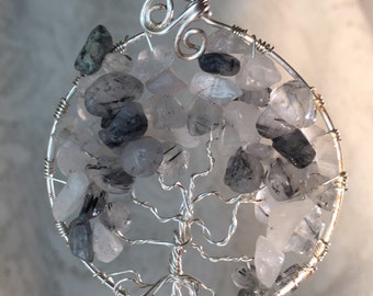 Tourmulated quartz and silver wire gemstone tree of life pendant